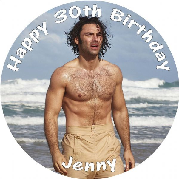 POLDARK ON BEACH EDIBLE ROUND BIRTHDAY CAKE PERSONALISED DECORATION